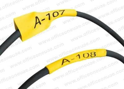 K-Sun LABELShop 11mm 211STBY Shrink Tube, Black on Yellow, 1/2 in