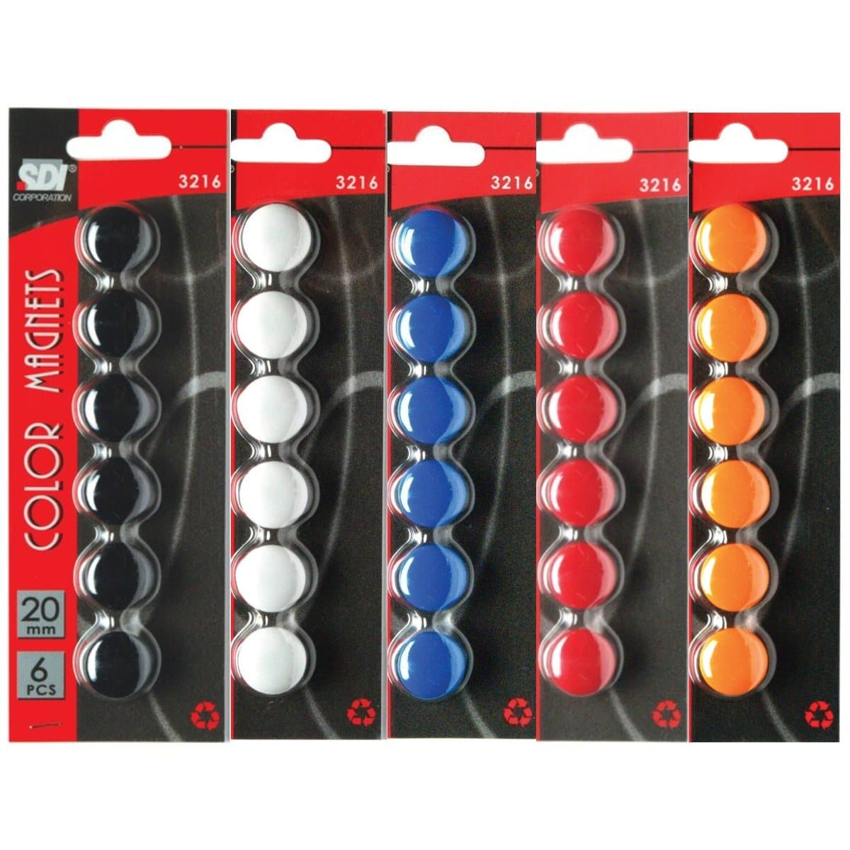 SDI Color Magnets, 20mm, 6/pack, available in Black, White, Blue, Red or Orange