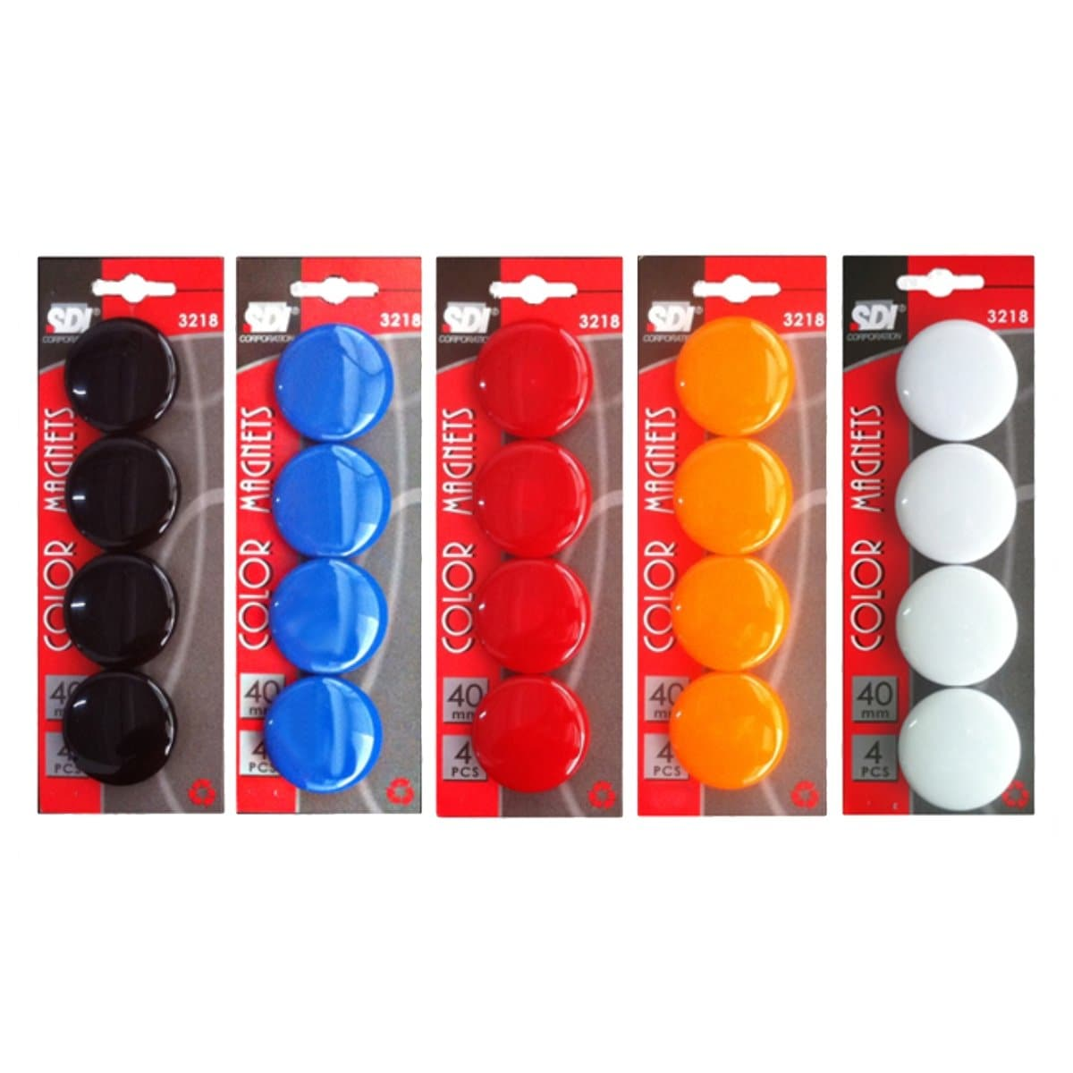 SDI Color Magnets, 40mm, 4/pack, available in Black, Blue, Orange, Red or White