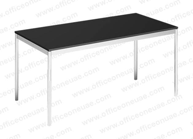 System4 Desk 160 x 80 cm, Base Chrome, Tabletop MDF Wood, Black