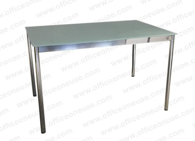 System4 Desk 120 x 80 cm, Chrome Base, Tabletop Glass Satin