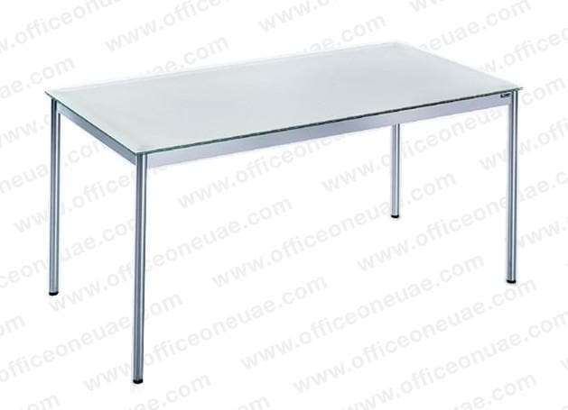 System4 Desk 120 x 80 cm, Chrome Base, Tabletop Glass White