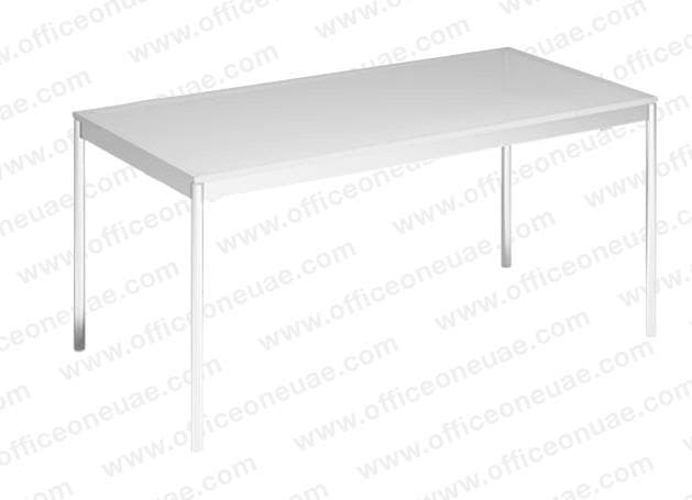 System4 Desk 160 x 80 cm, Chrome Base, Tabletop MDF Wood White