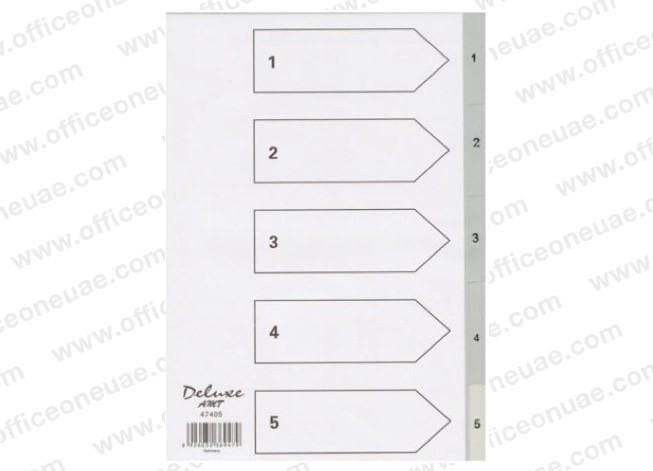 Deluxe Divider Plastic PVC Grey A4 with numbers 1- 5