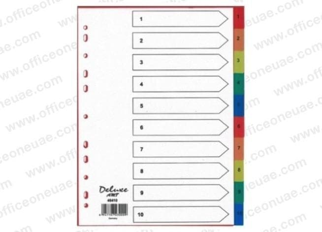 Deluxe Divider Plastic Colored A4, with numbers 1-10