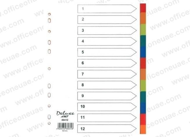 Deluxe Divider Plastic Colored A4, 12 Tabs