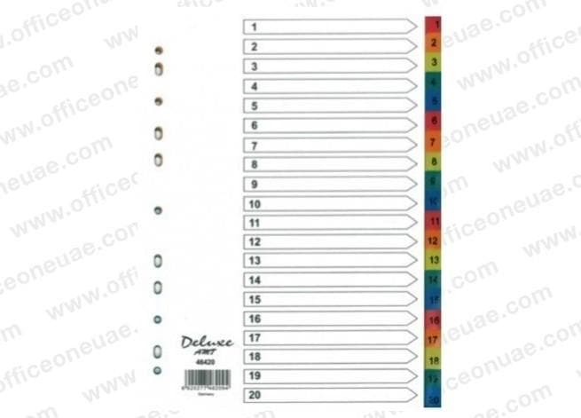 Deluxe Divider Plastic Colored A4, with numbers 1-20