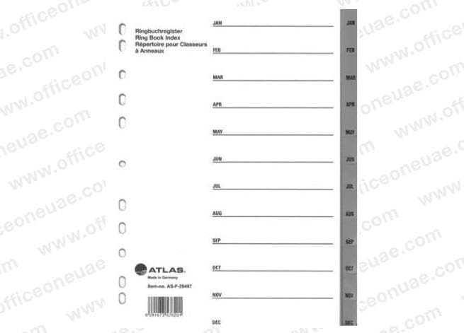 Atlas Divider Plastic PVC Grey A4, Jan-Dec
