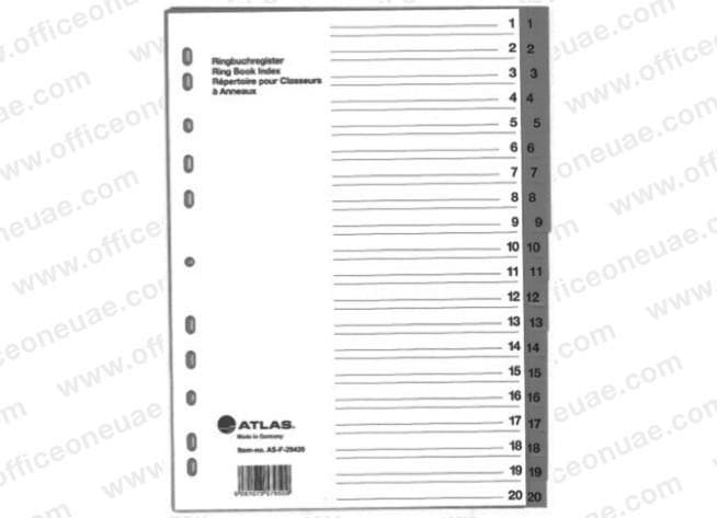 Atlas Divider Plastic PVC Grey A4, with numbers 1-20