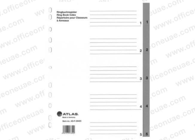 Atlas Divider Plastic PVC Grey A4, with numbers 1- 5
