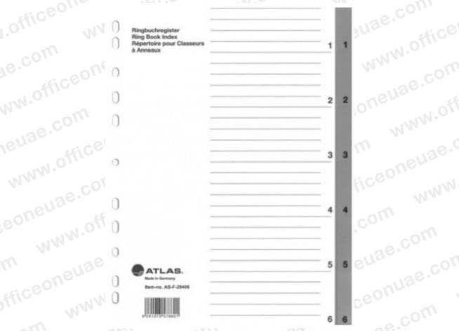 Atlas Divider Plastic PVC Grey A4, with numbers 1- 6
