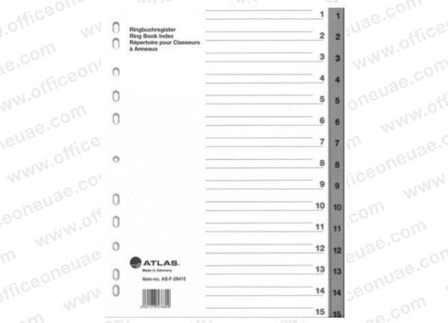 Atlas Divider Plastic PVC Grey A4, with numbers 1-15