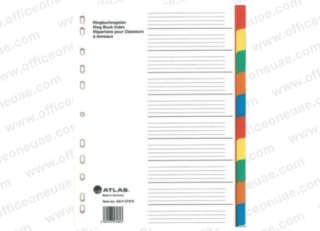 Atlas Divider Plastic Colored A4, 10 Tabs