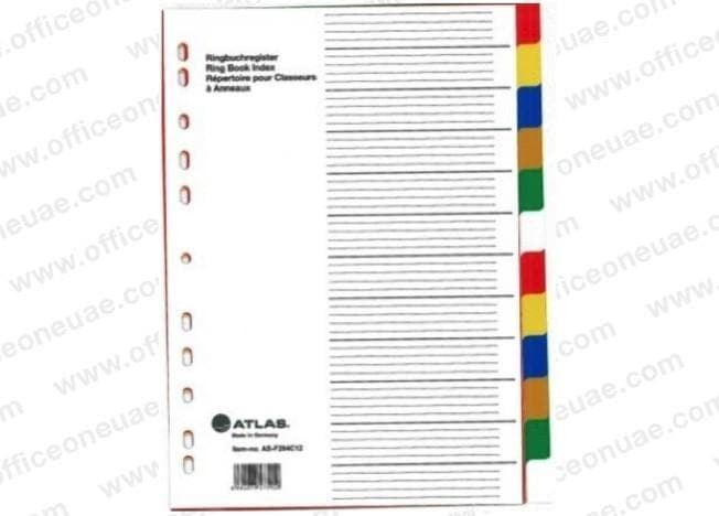 Atlas Divider Plastic Colored A4, 12 Tabs
