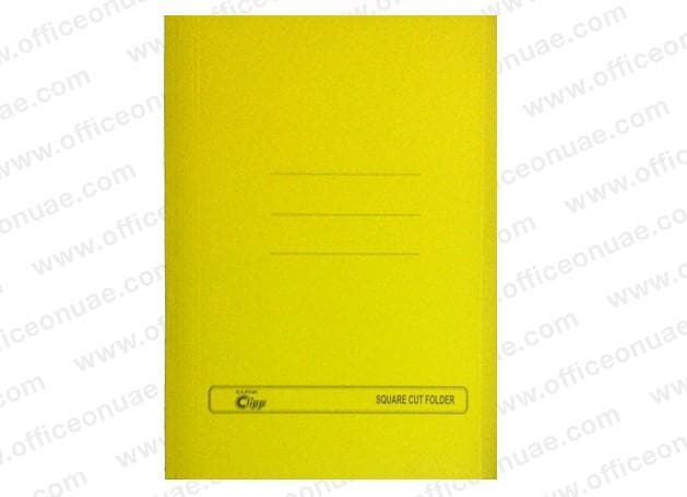 Clipp Square Cut Folder FS, 10/pack, Yellow