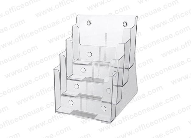 Acrylic Brochure Holder Table/Wall Mount, 4 Tier, A5 149 x 210 mm