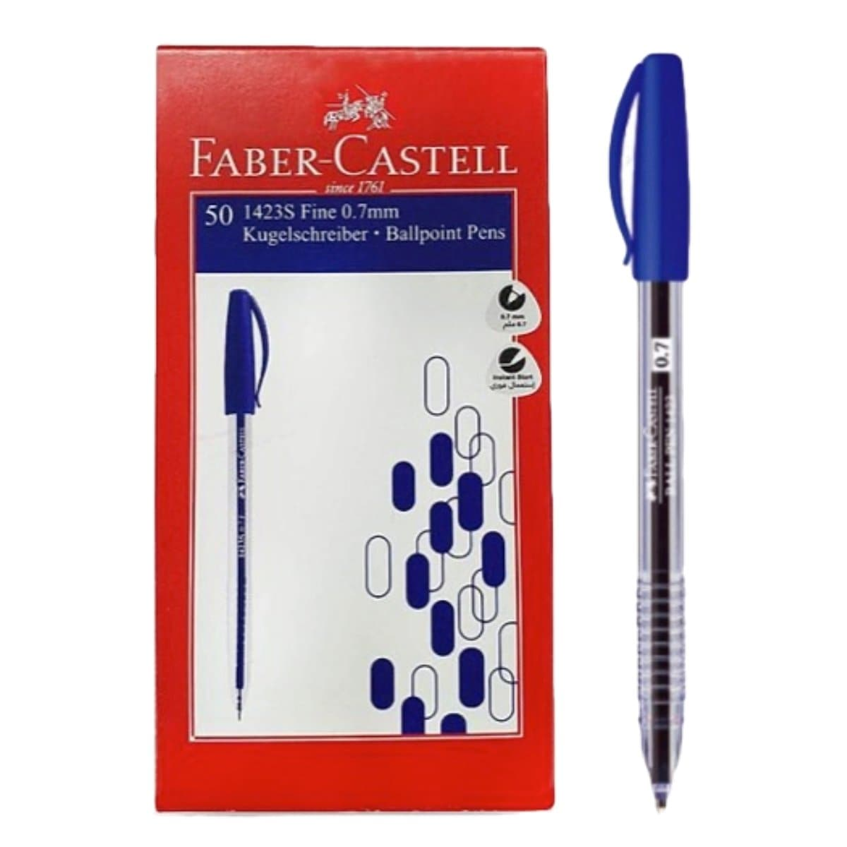 Faber Castell Ballpen 1423, 0.7mm, 50/box, Blue