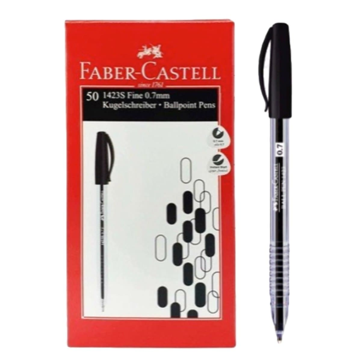 Faber Castell Ballpen 1423, 0.7mm, 50/box, Black