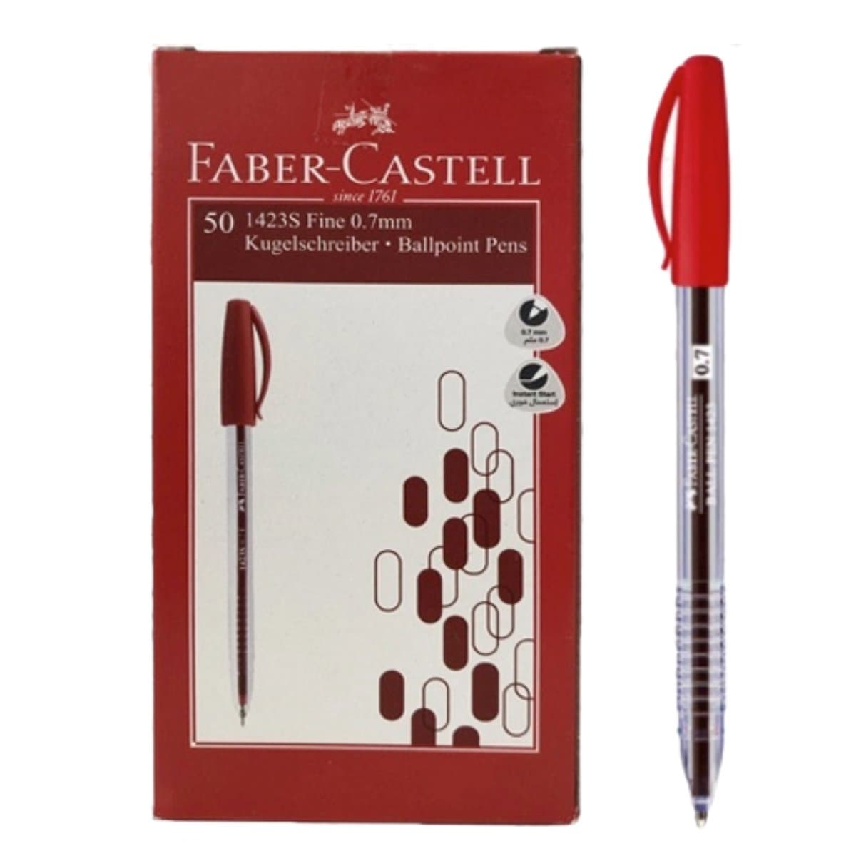 Faber Castell Ballpen 1423, 0.7mm, 50/box, Red