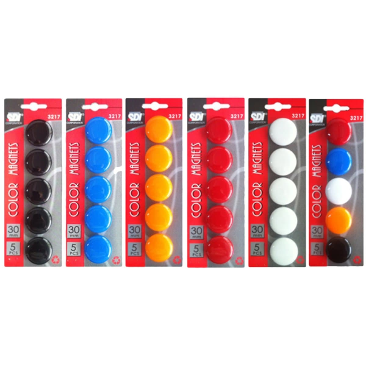 SDI Color Magnets, 30mm, 5/pack, available in Black, Blue, Orange, Red, White or Assorted