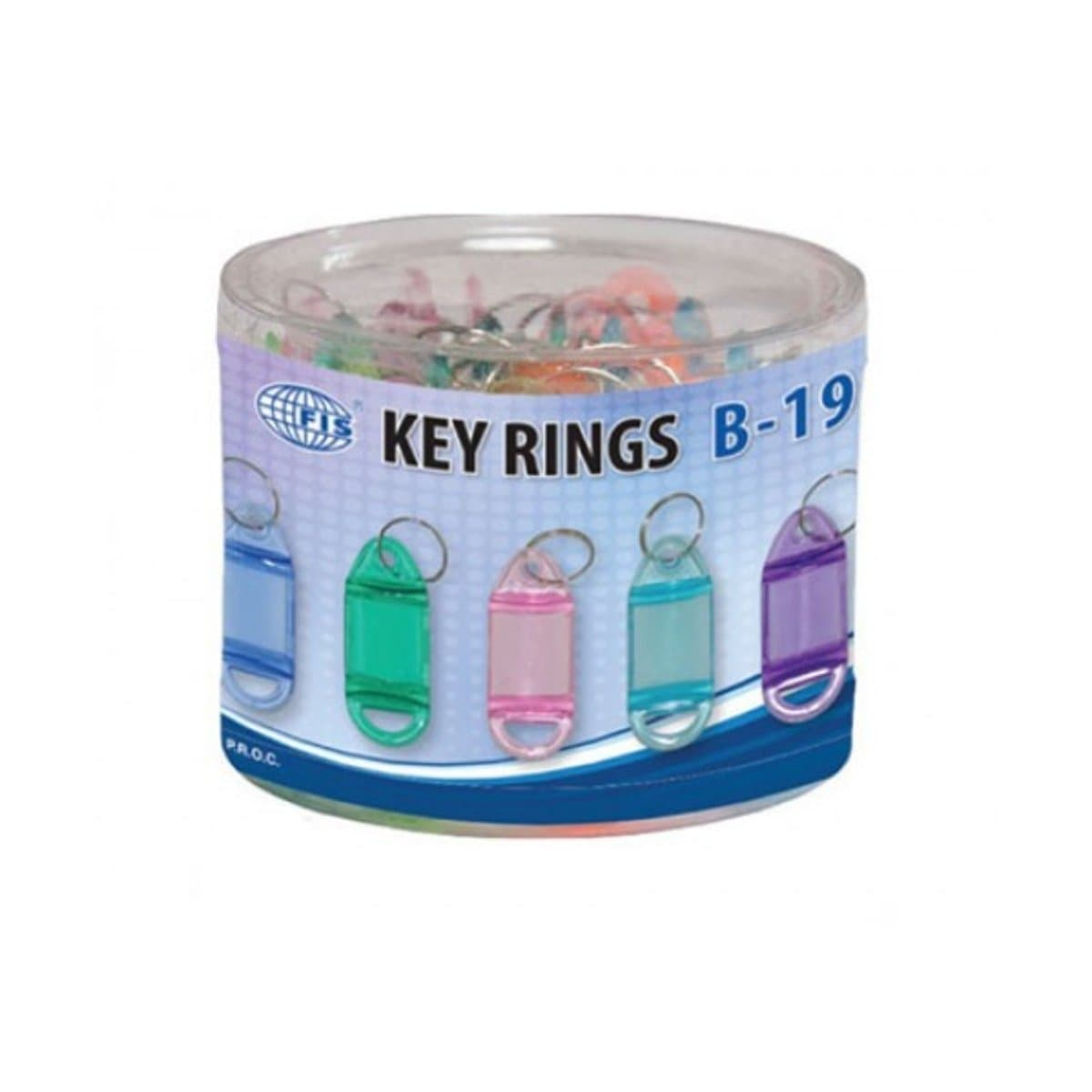 FIS Plastic Key Tags with Ring B-19, Assorted Colors, 25/pack