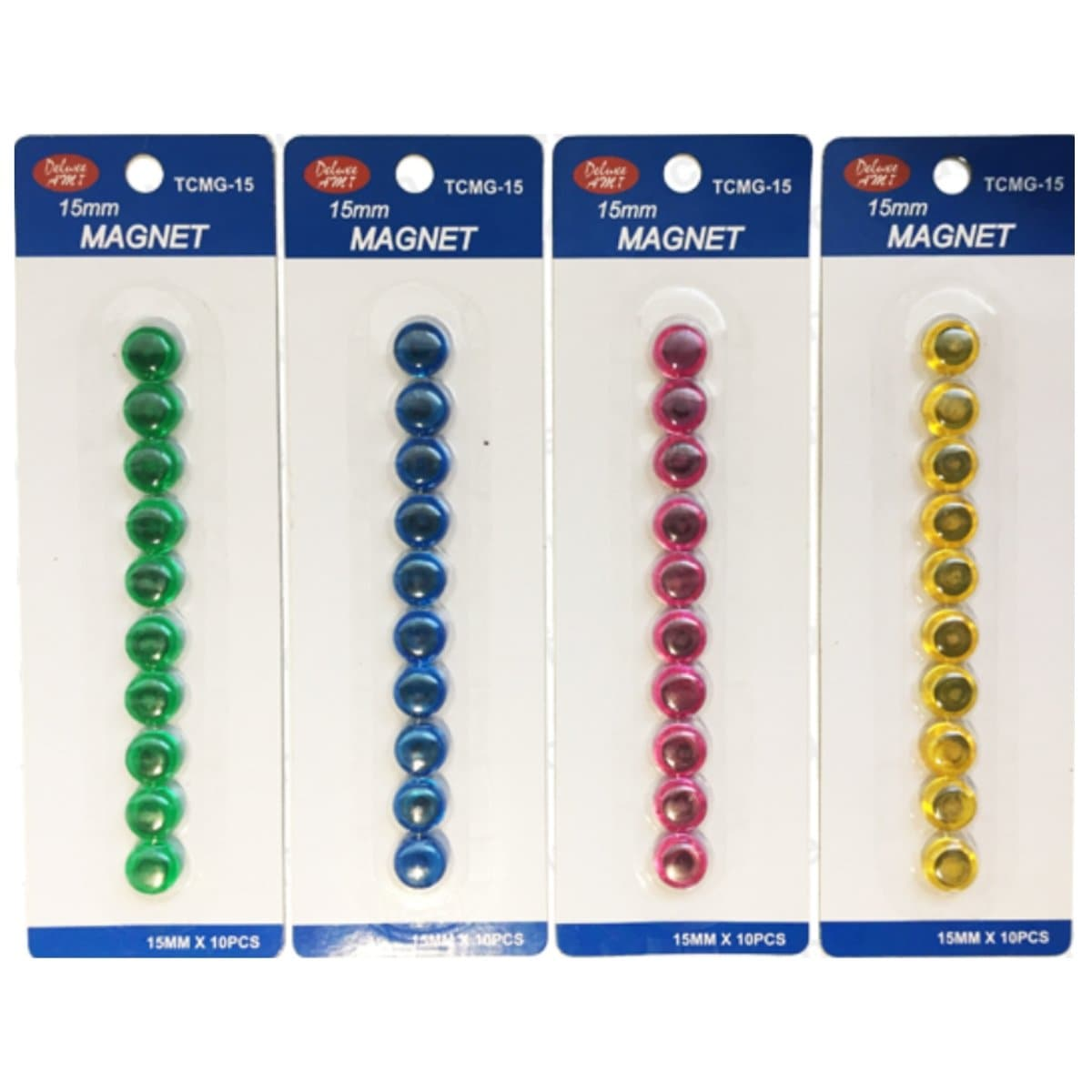 Deluxe Magnetic Button, 15mm, 10/pack, available in Green, Blue, Pink or Yellow