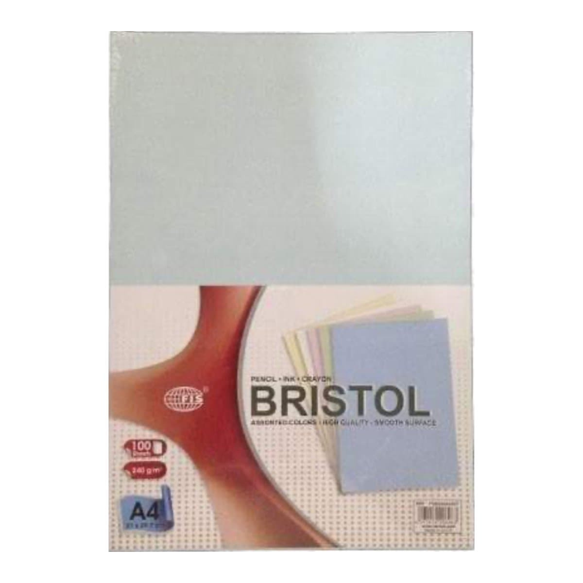 FIS Bristol Board A4, 240gsm, 100/pack, Assorted Colors