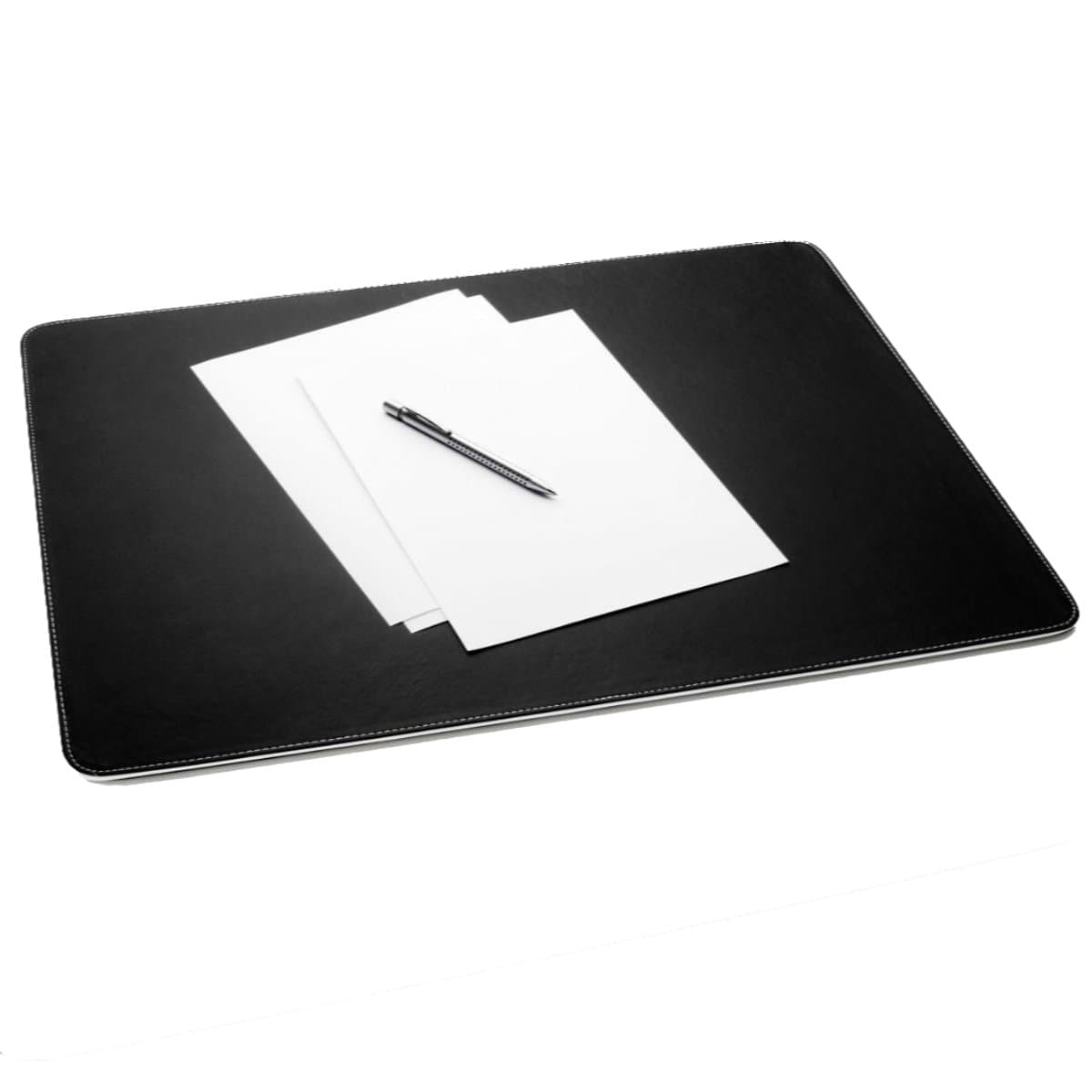 Sigel EYESTYLE Desk Pad, 60 x 0.6 x 45 cm, Black with White padding and stitching