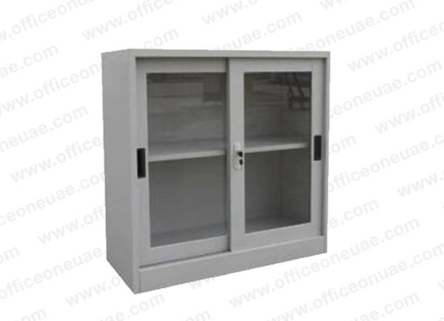 Rexel Filing Cupboard, 94x90.1x44.5 cm, Sliding Glass Door, Grey