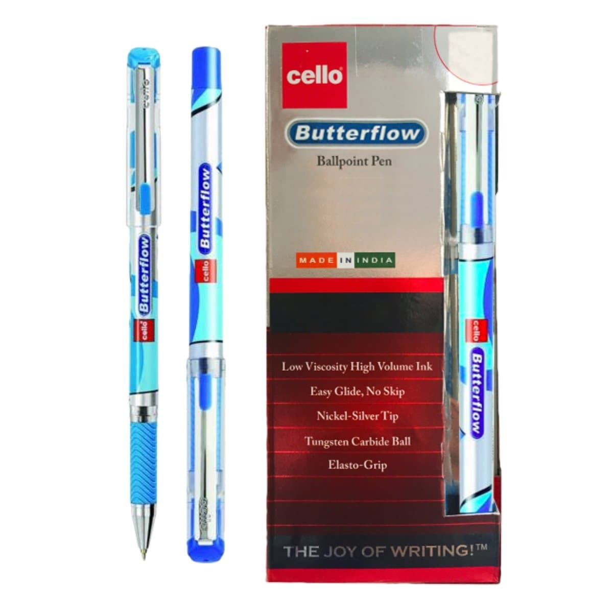 Cello Ballpoint Pen Butterflow, 0.7mm, 12/box, Blue