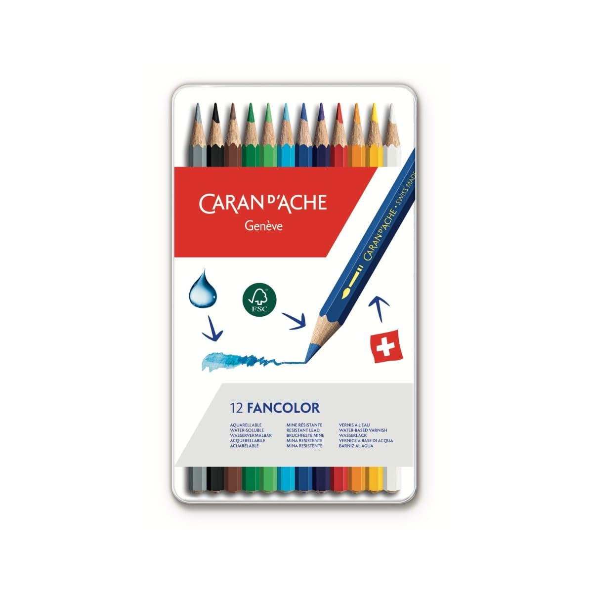 CARAN d'ACHE FANCOLOR Color Pencil, 12/metal case