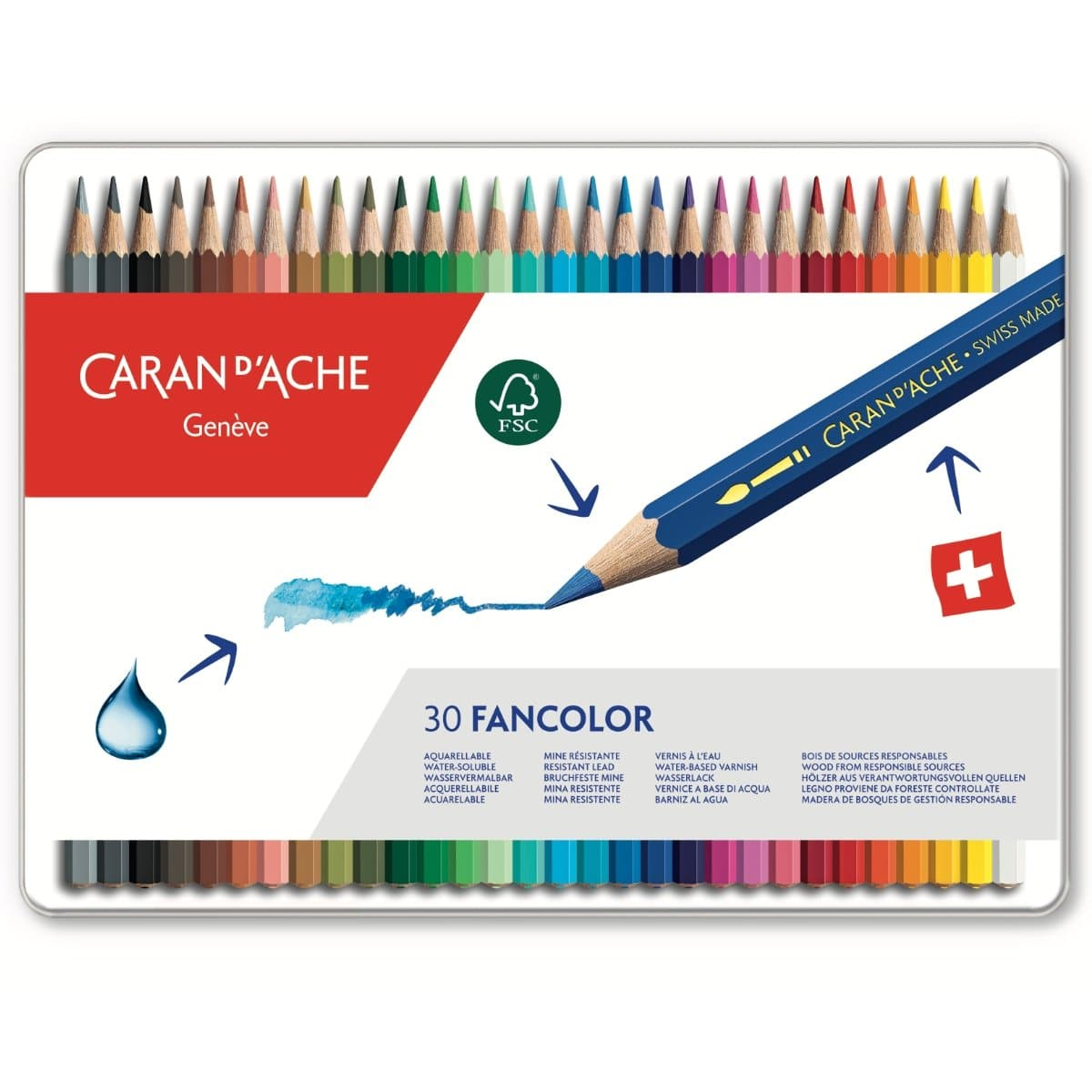 CARAN d'ACHE FANCOLOR Color Pencil, 30/metal case