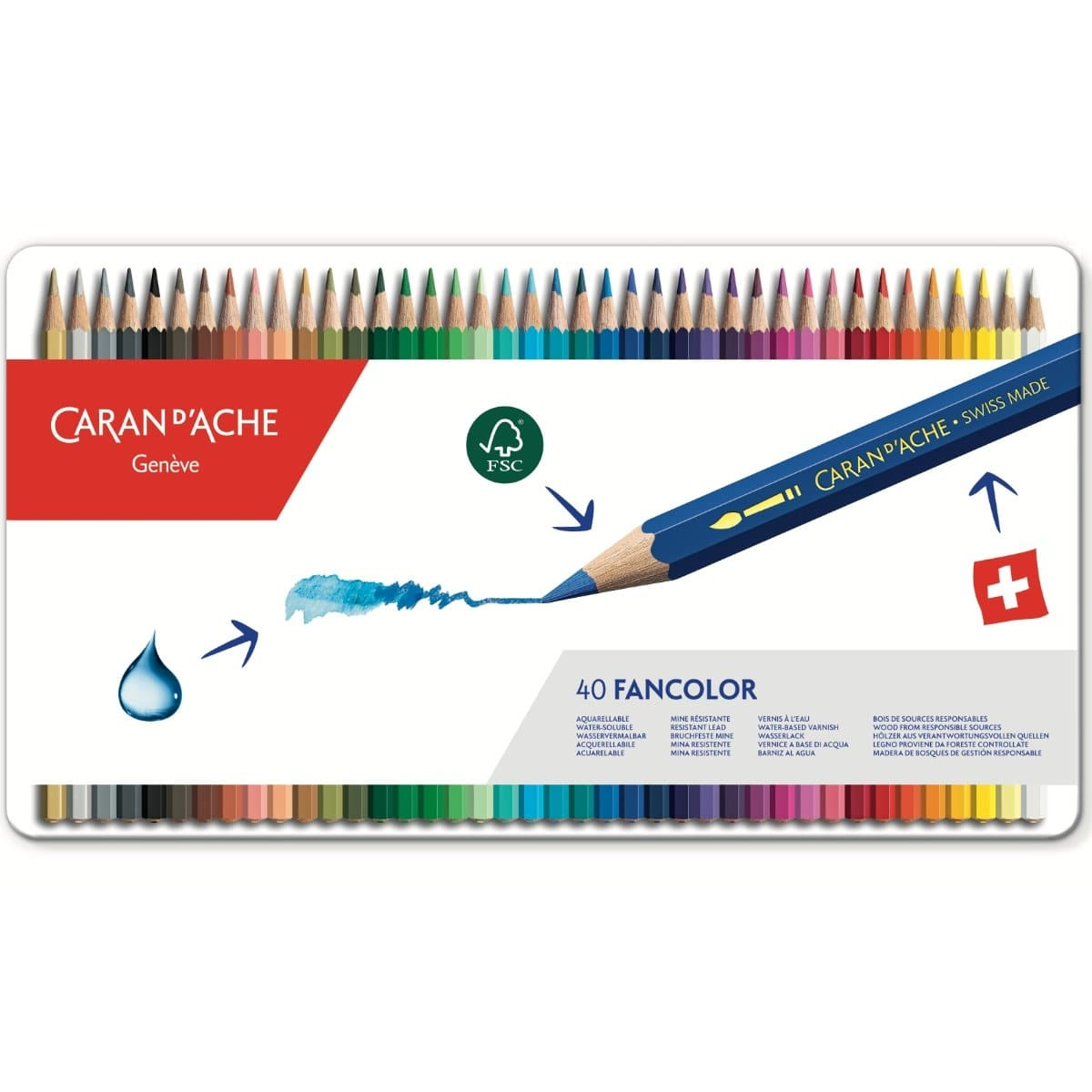 CARAN d'ACHE FANCOLOR Color Pencil, 40/metal case