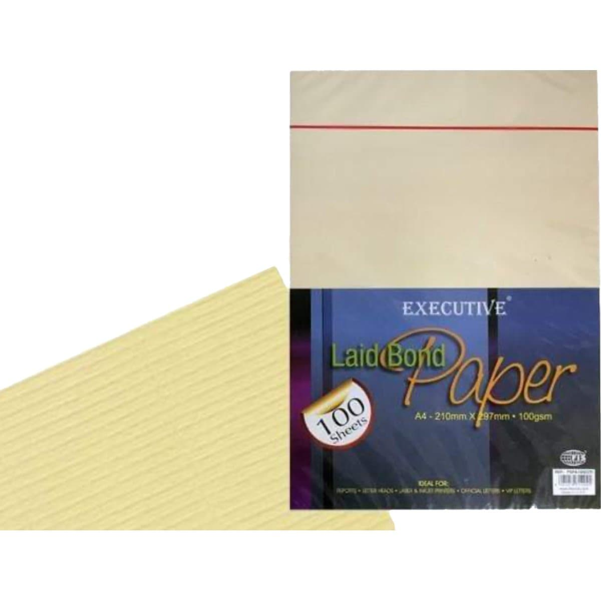 FIS Executive Laid Bond Paper A4, 100gsm, 100sheets/pack, Cream