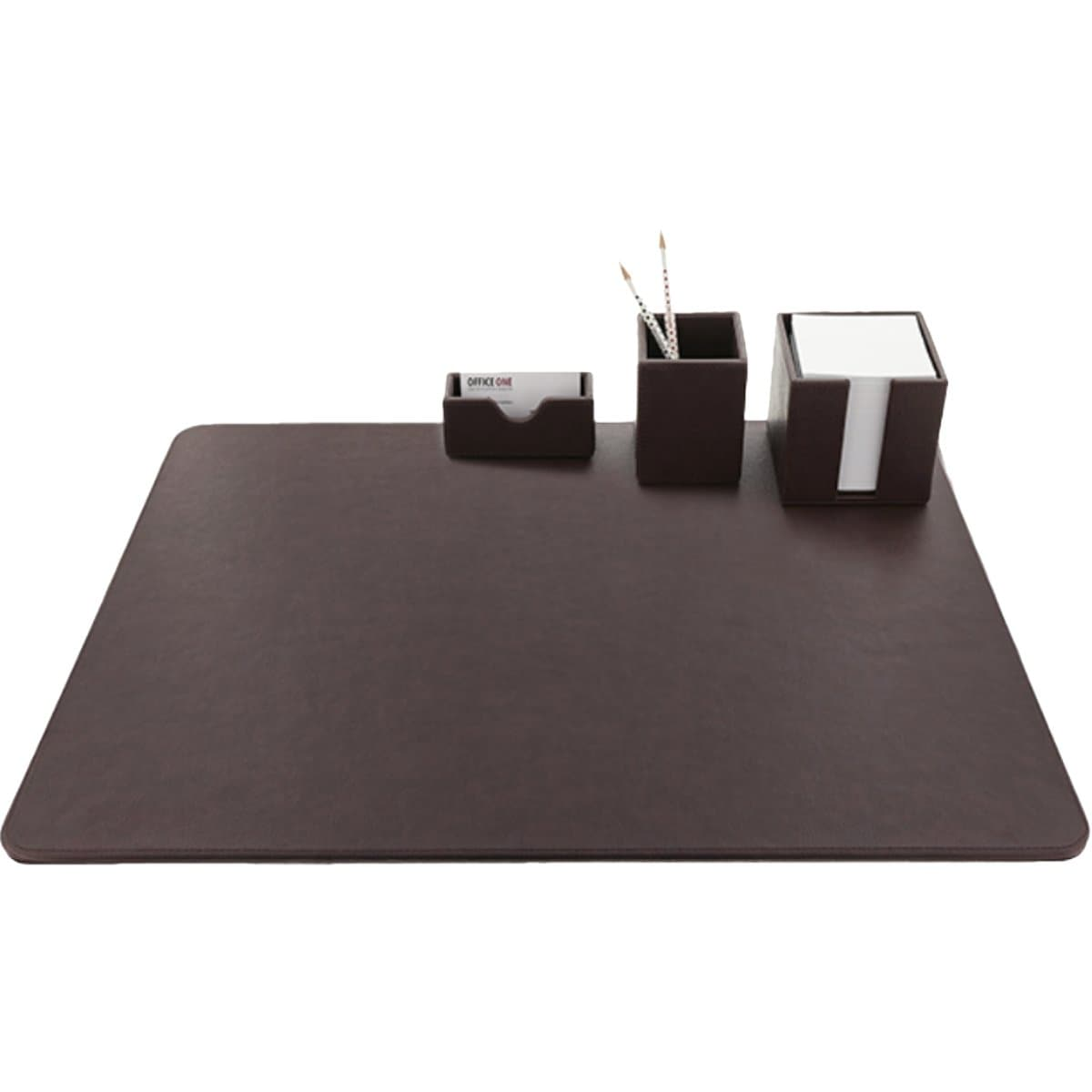Konrad S. Desk Set, PU Leather, Brown