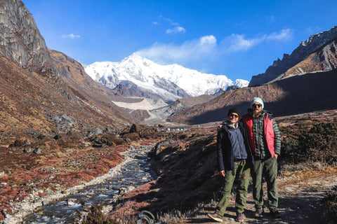 Coming back from base camp, Kanchenjunga behind us