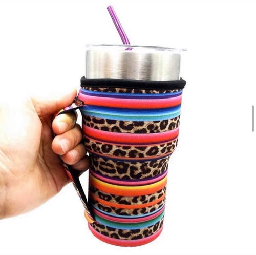 Serape & Leopard - 30 oz Kozie Cover with Handle