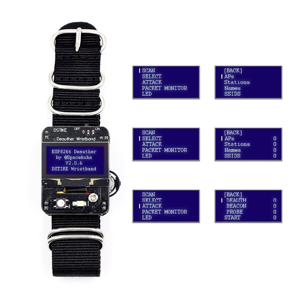 DSTIKE Deauther Wristband 1 3OLED 600mAh Attack / Control / Test WiFi  development board no PB ESP8266