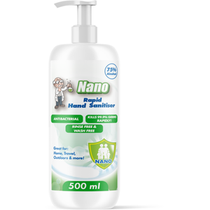 75% Alcohol Nano Rapid Hand Sanitiser 500ml Pump Bottle