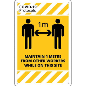 Covid-19 & Social Distancing Signs - MAINTAIN 1 METRE DISTANCE