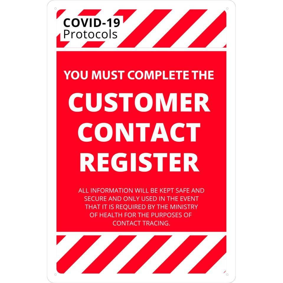 Covid-19 & Social Distancing Signs - COMPLETE CUSTOMER CONTACT REGISTER