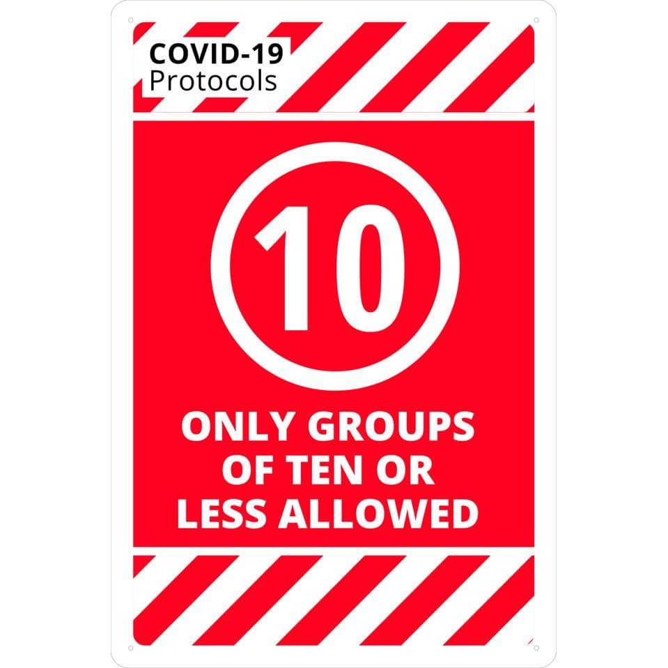 Covid-19 & Social Distancing Signs - ONLY GROUPS OF 10