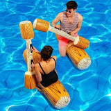 Funnyinflatable Entertainment Game Toy Inflatable Pool Floats Boat Raft Collision Chair Stick Toys Wood Ride-ons Grain Seat Mounts Water Fun Toy For Adults (2 x Float Chairs, 2 x Sticks)