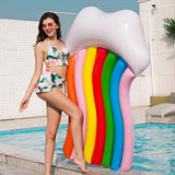 Funnyinflatable Giant Seven-Color Rainbow Cloud Swimming Raft Colorful Inflatable Water Floating Row Bed Lifebuoy Beach Party Toy