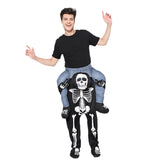 Funnyinflatable Halloween Skeleton Ride On Costume Cosplay Party Toy Piggyback Fancy Dress with Stuff Your Own Legs For Adults