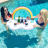 Funnyinflatable Drink Holder Rainbow Inflatable Float Cup Holder Beer Bar Tray Ice Bucket Seat Ring For Swimming Pool Serving Tray Party Accessories Toy