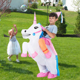 Funnyinflatable Halloween Elk Ride On Inflatable Costumes Unicorn Piggyback Cosplay Party Toy Flamingo Fancy Dress Horse Blow Up Suit For Kids
