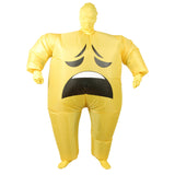 Funnyinflatable Halloween Funny Smile Cry Face Inflatable Costume Full Body Blow Up Suit Cosplay Party Toy Big Fat Fancy Dress For Adults