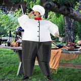Funnyinflatable Halloween Chef Inflatable Costume Kitch Cook Blow Up Suit Cosplay Party Fancy Dress  Full Body Clothes With Hat For Adults