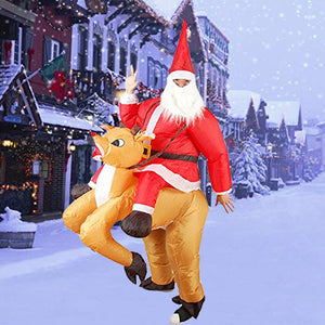 Funnyinflatable Chritmas Xmas Elk Inflatable Costume Christmas Santa Cosplay Party Blow Up Suit Full Body Fancy Dress For Adults